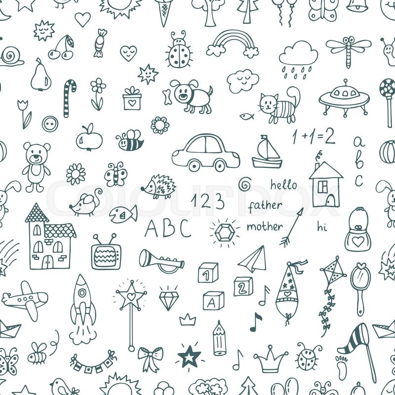 Cute hand drawn children drawings seamless pattern. Doodle children drawing  background. Vector illustration, vector