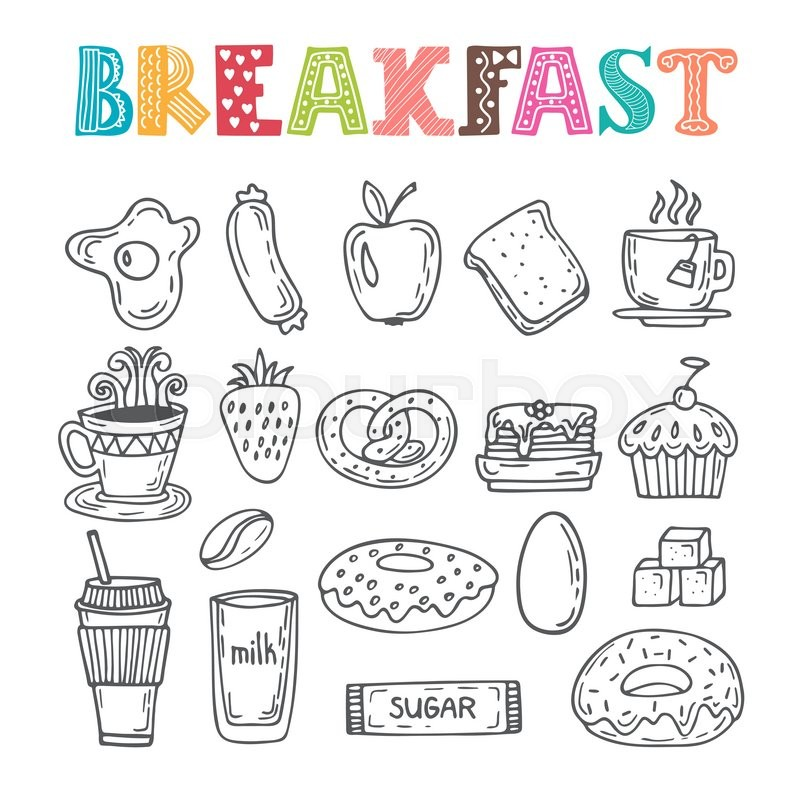 Hand Drawn Breakfast Set. Collection Of Various Sketches