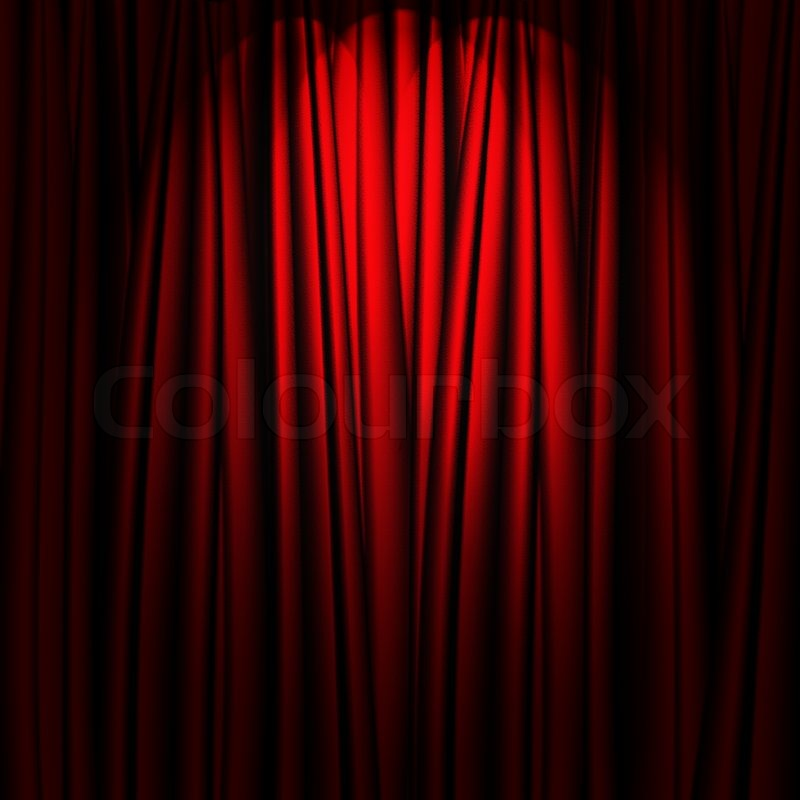Red theater curtain with soft lighting | Stock Photo | Colourbox