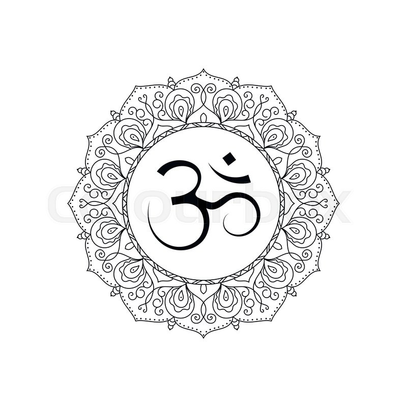 Om Symbol In Lace Frame Black And White Isolated Vector Spiritual