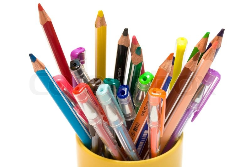 Color pencils and pens on a white ... | Stock Photo ...