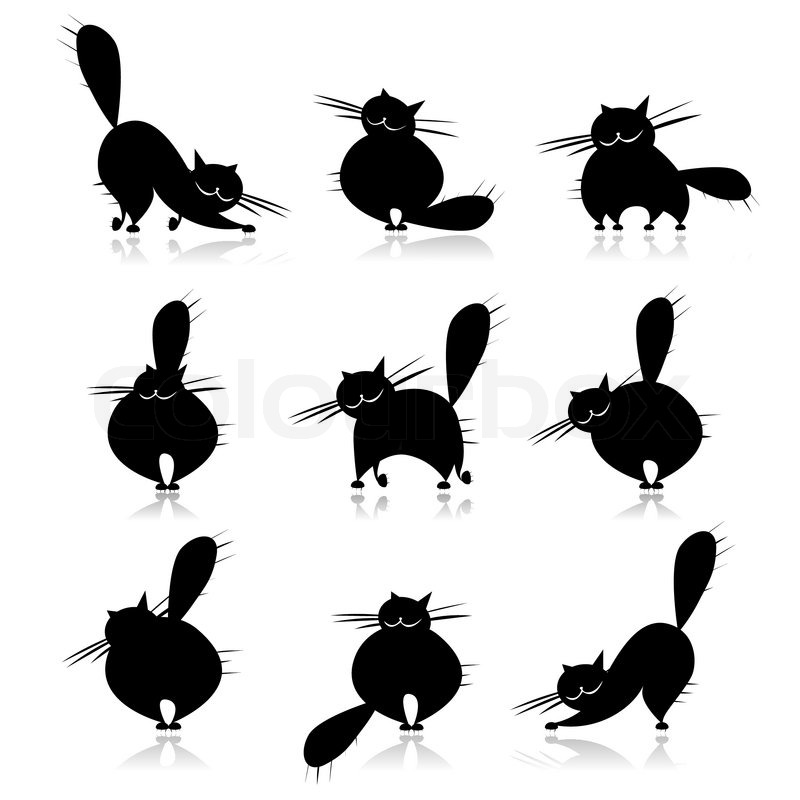 Funny Black Fat Cats Silhouettes For Your Design Stock