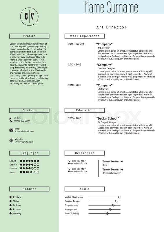 stock vector of vector creative resume template minimalistic green mint and white style