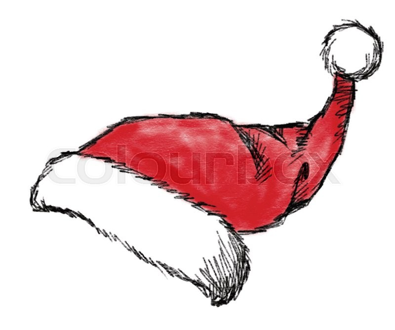 0d34293472e Hand drawn christmas hat on white ...