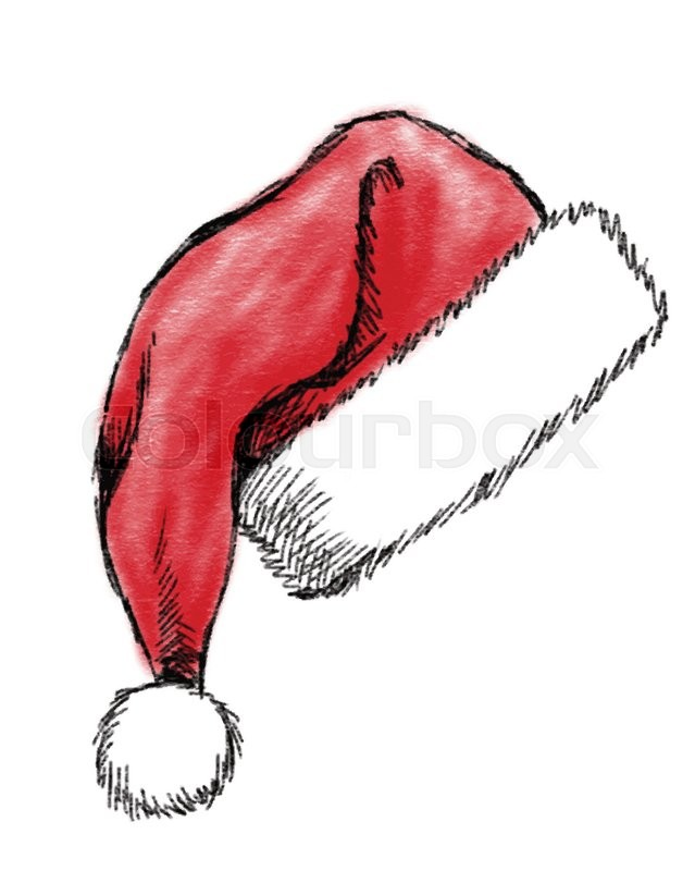 Hand drawn christmas hat on white background stock