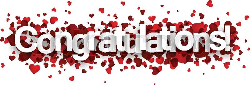congratulations 3d sign with red hearts vector paper illustration