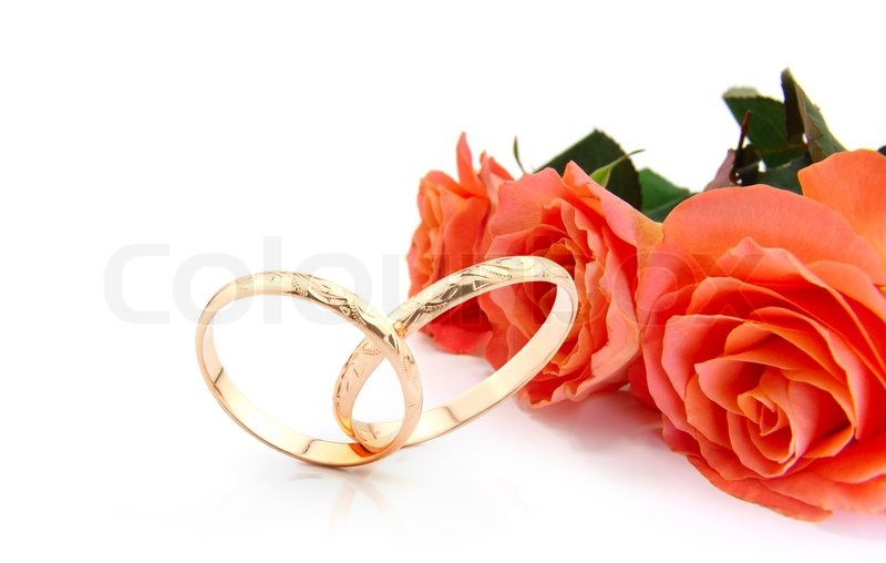 Stock Image Of Wedding Rings And Roses On White With Space For Writing