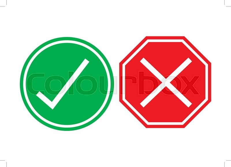 Right and wrong signs isolated on     | Stock vector | Colourbox