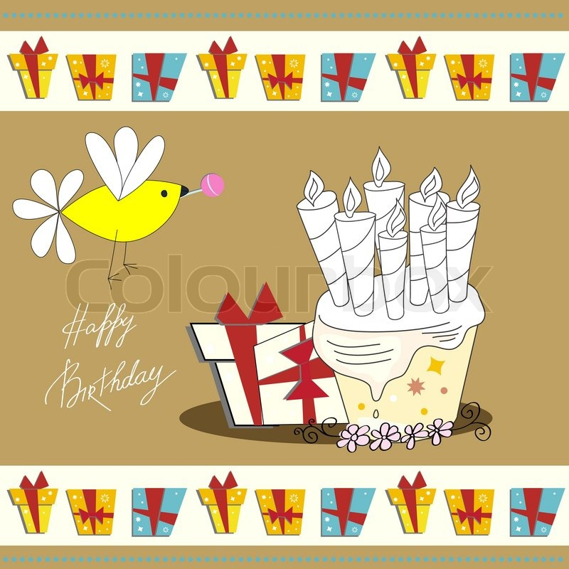 Greeting card with inscription happy birthday Stock Vector ...