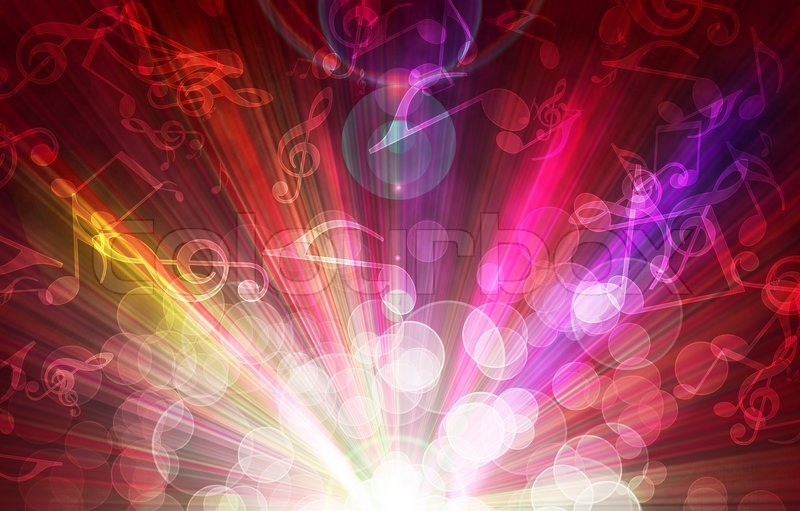 Magic Burst With Music Notes Abstract Background Stock