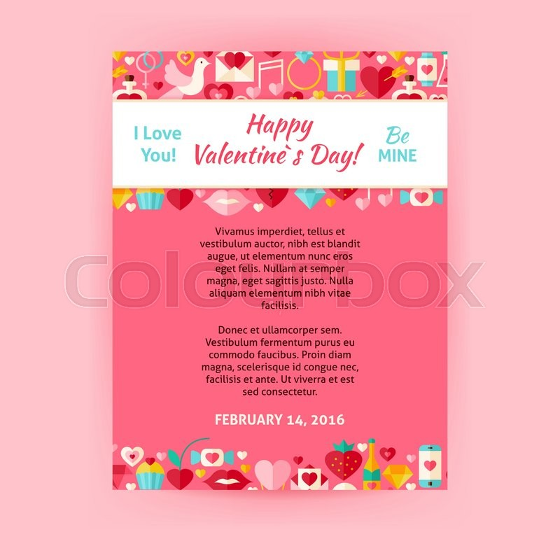 Happy Valentine Day Invitation Template Flyer Flat Design Vector - Valentine's day invitation template
