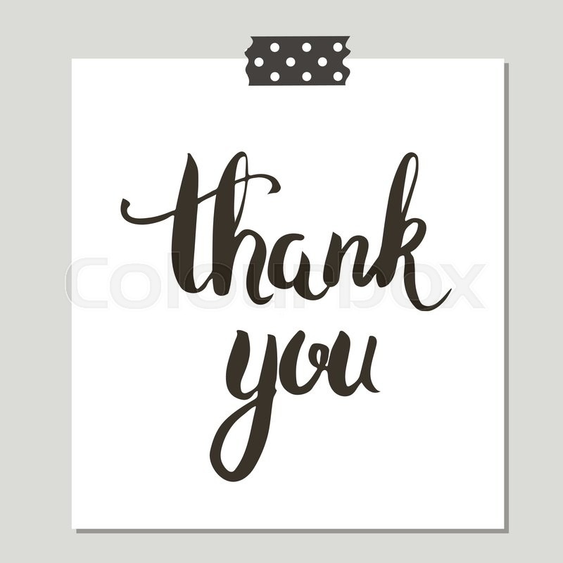 Thank you card hand drawn brush lettering ink