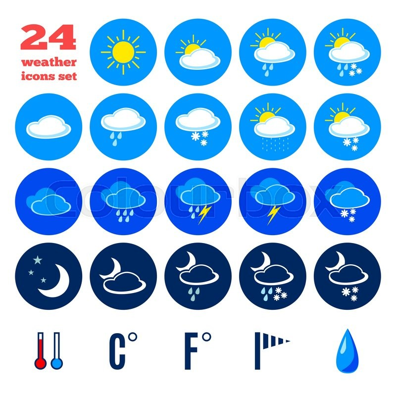 Collection Of Weather Forecast Icons Symbols For Climate Changes