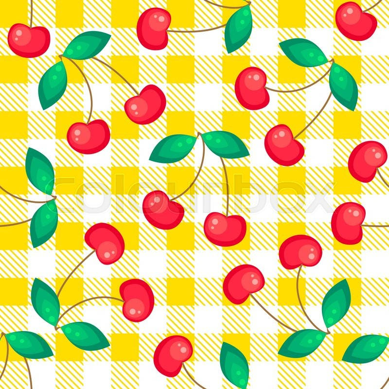 Tartan Plaid With Cherries Seamless Pattern. Kitchen Yellow Checkered  Tablecloth Fabric Background. | Stock Vector | Colourbox