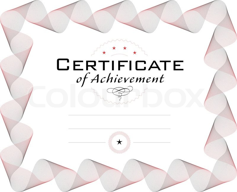 Template of diploma or certificate with guilloche border, curve ...