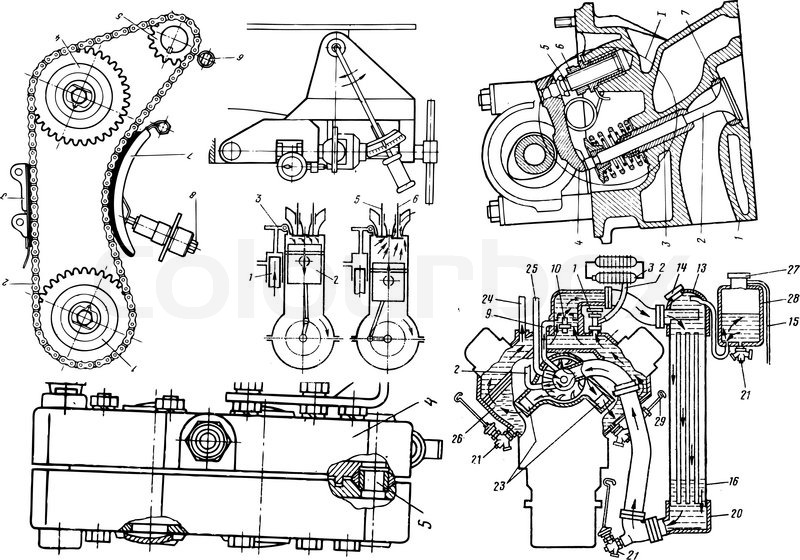 technical drawing or blueprint on white background stock vector