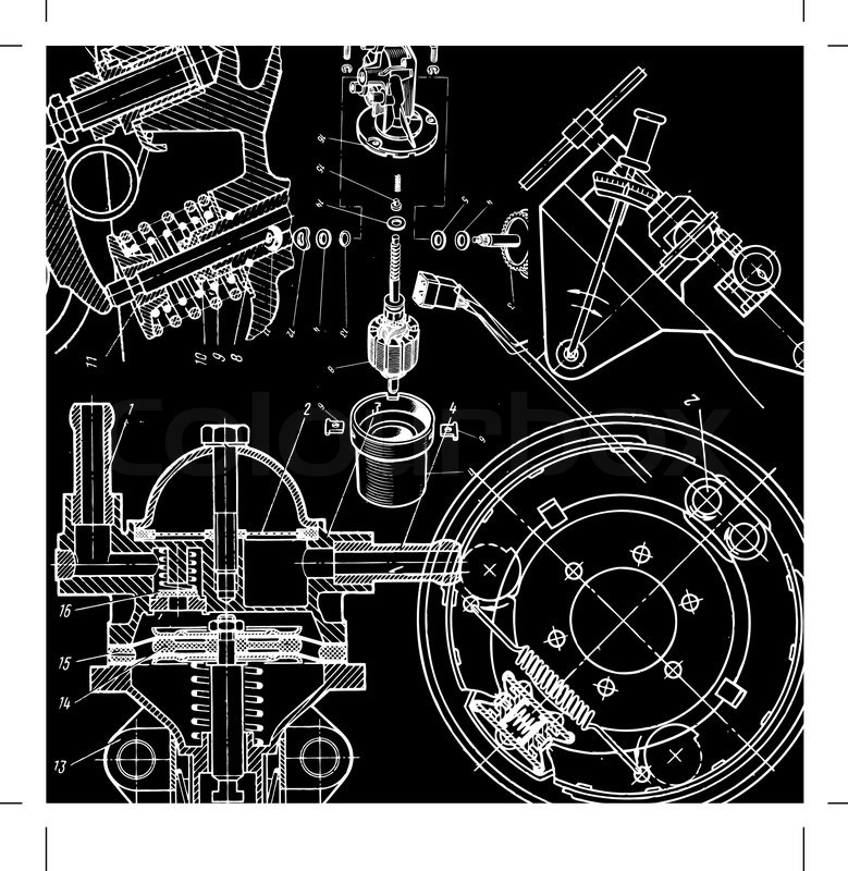 Technical drawing or blueprint on black background stock vector technical drawing or blueprint on black background stock vector colourbox malvernweather Image collections