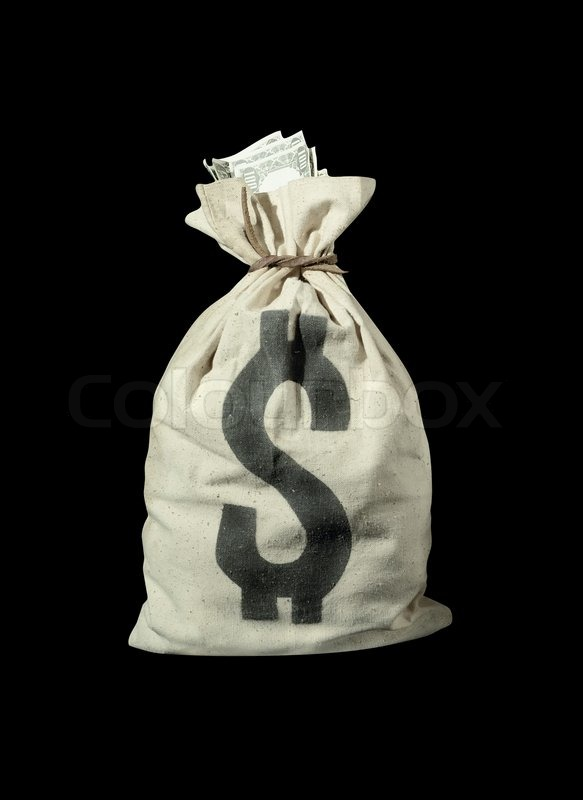 Money Bag With Us Dollars Isolated On Black Background