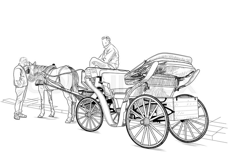 Drawing Carriage With A Horse And Two