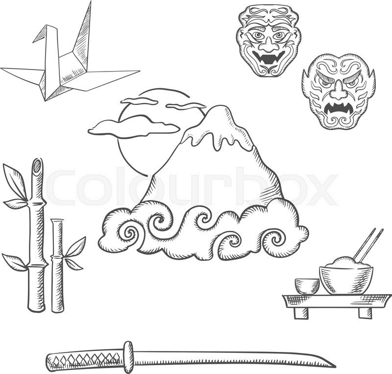 Fujiyama Mountain In Clouds And Big Sun Surrounded By Symbols Of Japanese Culture Including Katana Samurai Sword Bamboo Sprouts Bowl With Rice