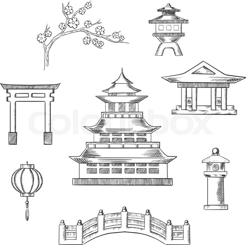 Japan Travel Icons In Sketch Style With Traditional Japanese Pagoda Surrounded By Blossoming Branch Of Sakura Torii Gate Paper Lantern Temple And Bridge