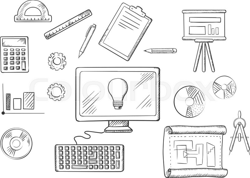 Architect or education icons with sketched desktop computer architect or education icons with sketched desktop computer surrounded by icons of board blueprint graphs calculator and a light bulb on the screen malvernweather Images