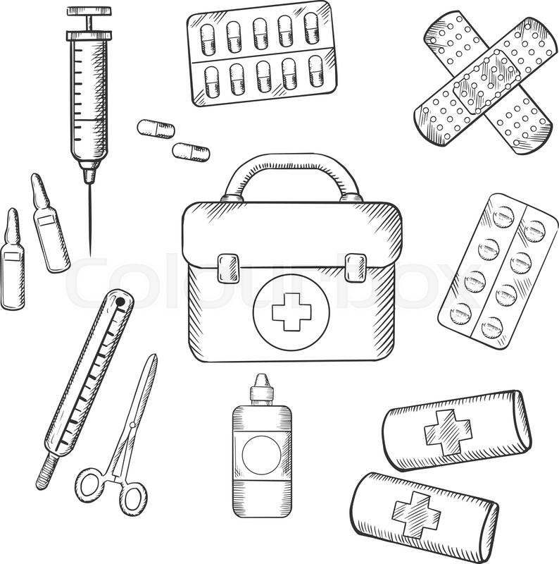 Free Coloring Pages About First Aid: Ambulance Concept With A Sketch Icons ...