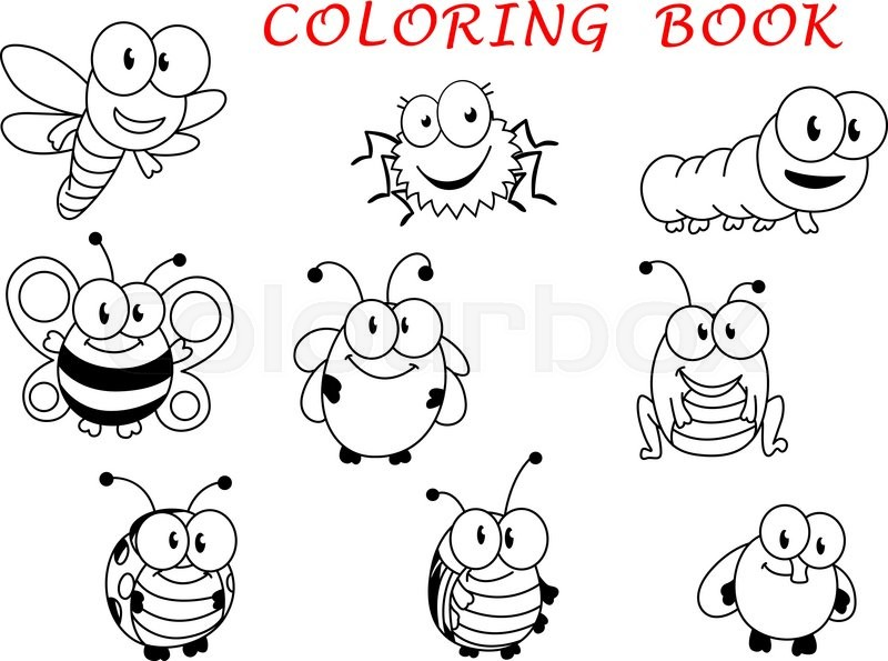 Flying Black Beetle Cartoon funny outline ...