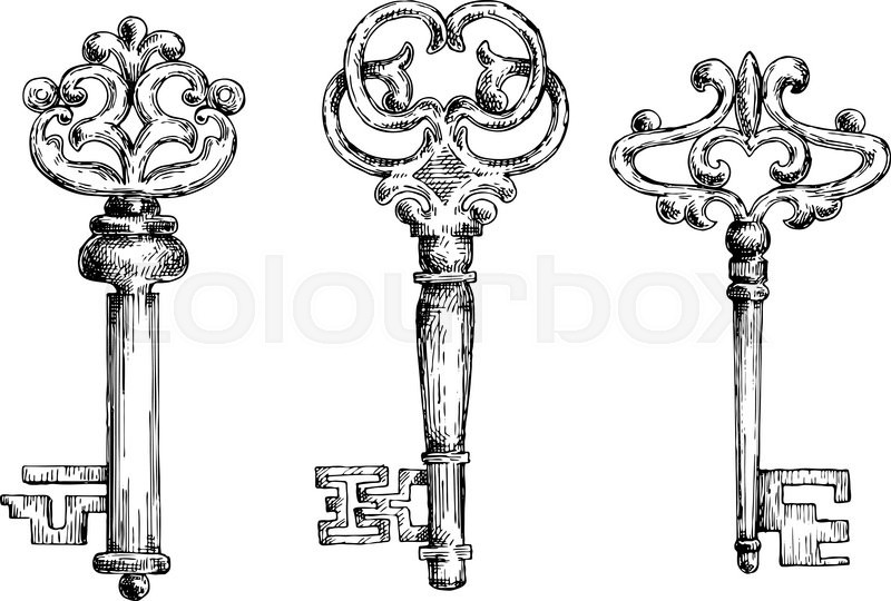 Antique Key Coloring PagesKeyPrintable Pages Free Download