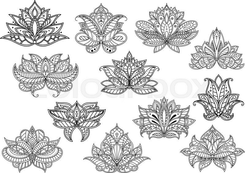 Stock Vector Of Oriental Outline Paisley Flowers With Ethnic Persian Indian And Turkish Openwork