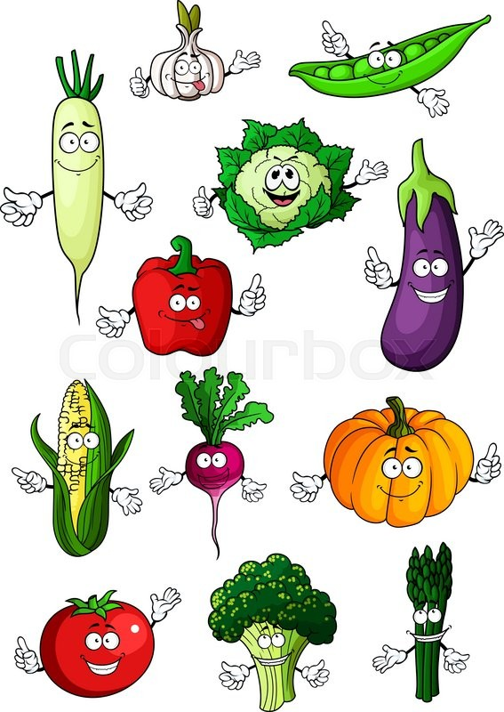 Healthful organic fresh cartoon tomato eggplant bell pepper green pumpkin corn cauliflower asparagus garlic and daikon vegetables happy veggies characters for recipe book healthy vegetarian food or agriculture forumfinder Gallery