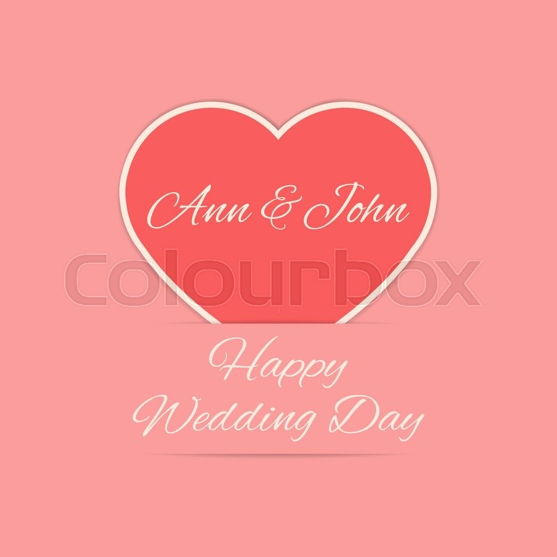 Happy Wedding Day Card In Red Colors Newly Weds Names On The Heart