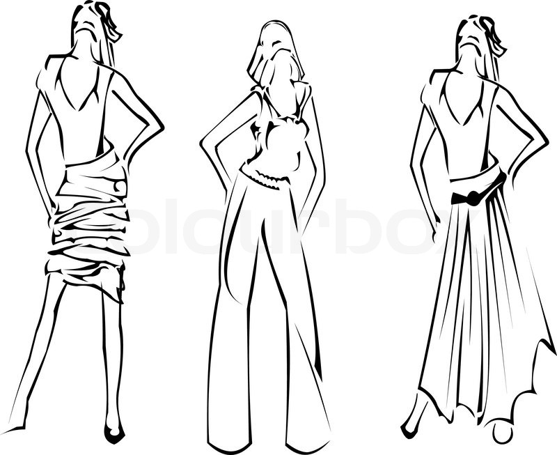 Fashion Girls Designer Sketch Stock Vector Colourbox Coloring