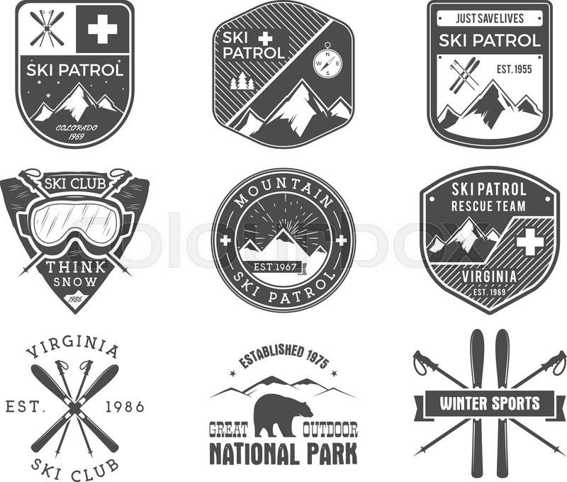set of ski club  patrol labels vintage mountain winter yahoo mail logo vector mail logo vector free download
