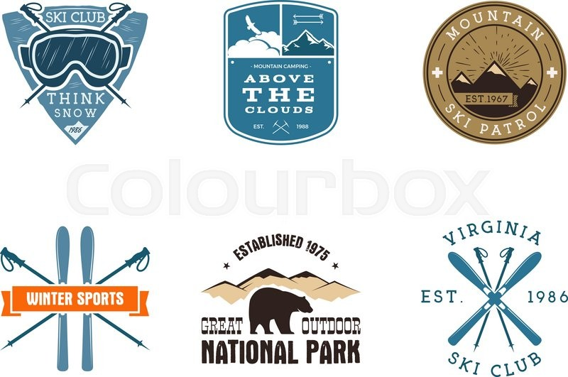 Set Of Ski Club National Park Labels Vintage Mountain Winter
