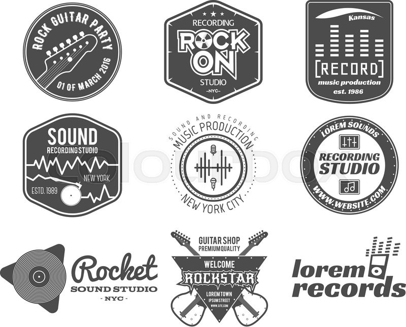 Set of vector music production logolabel sticker emblem print or logotype with elements guitar for sound recording studio t shirt or sound production