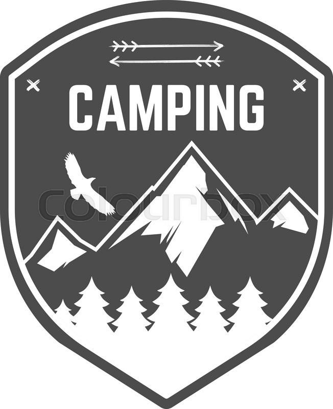 Camping Label Vintage Mountain Winter Camp Explorer Badge Outdoor