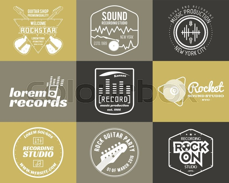 Set Of Vector Music Production Logo Musical Label Icons