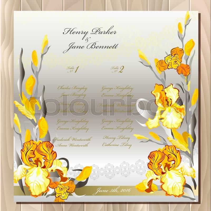 Iris flower wedding guest list for table yellow iris flowers and yellow iris flowers and lace background wedding iris bouquet hand drawn vector illustration printable wedding design blank template pronofoot35fo Choice Image