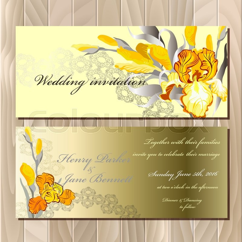 Wedding card with yellow, orange, golden iris flower bouquet ...