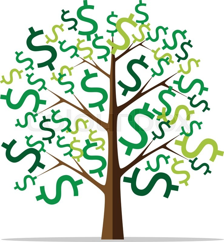 money tree with green dollar signs isolated on white
