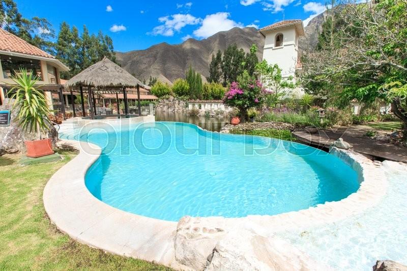 Pool in the garden , stock photo