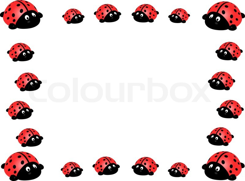 Illustration vector frame of ladybird isolated on white | Stock ...