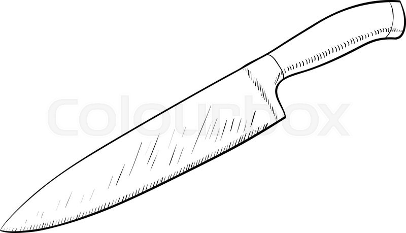 Line Drawing Knife : Knife sketch icon in cartoon doodle style stock vector