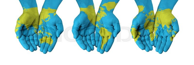 World map painted on hands isolated on white stock photo colourbox stock image of world map painted on hands isolated on white gumiabroncs Images