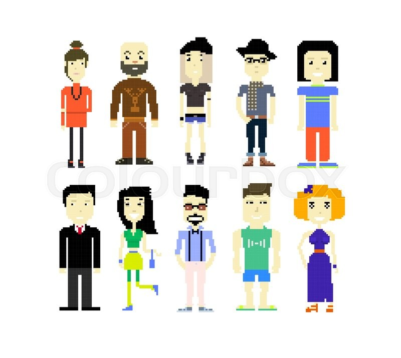 Set Of Different Pixel Art Characters Stock Vector Colourbox