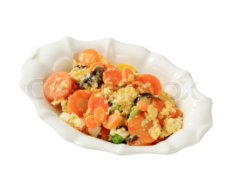 Stock image of 'Bowl of mixed vegetables and scrambled egg'