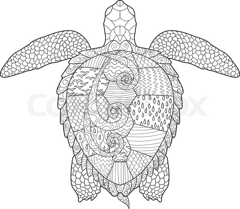 Sea turtle with high details. Adult antistress coloring