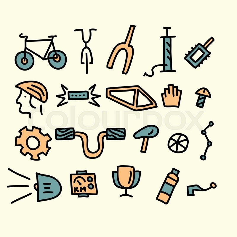 Bicycle Parts And Accessories Vector Stock Vector Colourbox