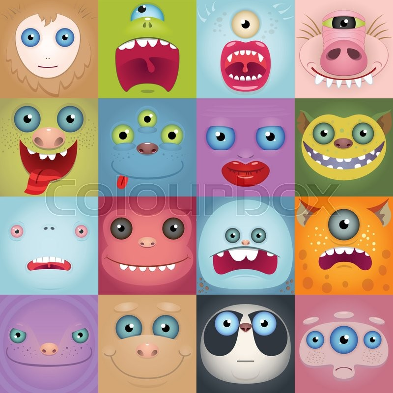 set of funny cartoon monster faces square avatars stock vector